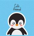 cute animal penguin wild fauna polka dots vector image