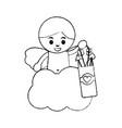 cute cupid angel love holding bag arrow cloud vector image vector image