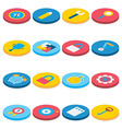 Flat Isometric Circle Business and Office Icons vector image