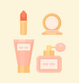 flat makeup set with perfume lipstick cream vector image vector image