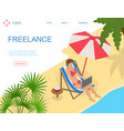 freelance concept card 3d isometric view vector image