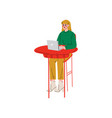 girl sitting at desk and working on laptop vector image vector image