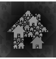 Grey home symbol on dark grey background vector image vector image