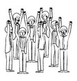 group of men celebrating with hands up vector image