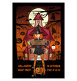 halloween invitation card with a witch costume vector image