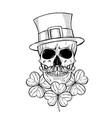 hand drawn angry skull leprechaun vector image