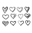 hand drawn scribble heart doodle sketch icon set vector image