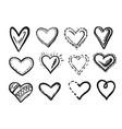 hand drawn scribble heart doodle sketch icon set vector image vector image