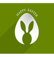Happy Easter bunny ear egg shape with lonh shadow vector image