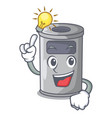 have an idea cartoon steel trash can in the office vector image vector image