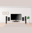 home theatre tv set system in interior big modern vector image vector image