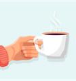 hot drink poster side view ceramic mug vector image