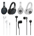 in-ear headphone and headset collection on white vector image