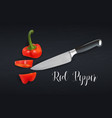 layout with a cut red pepper vector image