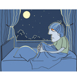 Man suffers from insomnia vector image vector image