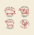 meat set labels butcher shop symbol vintage vector image vector image