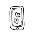 monoline cute phone with heart valentines vector image