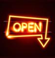 neon open frame arrow vector image vector image