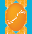 Orange easter egg card on fan pattern vector image vector image