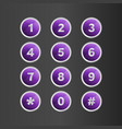 phone number violet button on gray background vector image