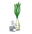 photographer cartoon fresh spring onion for vector image vector image