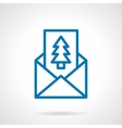 Pine postcard simple line icon vector image vector image