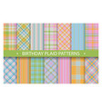 plaid pattern seamless ornate set birthday vector image