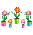 pot flowers vector image vector image