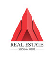 real estate construction building red logo vector image