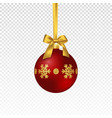 realistic christmas red bauble vector image vector image