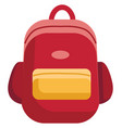 red and yellow school bag on white background vector image