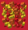 red orange yellow dice pattern vector image