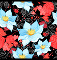 seamless bright pattern flowers and leaves vector image vector image