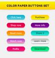 set color button paper cut style vector image
