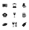 set of 9 editable cook icons includes symbols vector image vector image