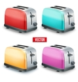 Set of Bright toasters isolated on white vector image vector image