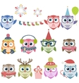 Set of cute Christmas owls vector image vector image