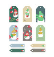 set of merry christmas and new year gift tags and vector image