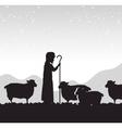 silhouette shepherd sheep manger isolated design