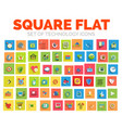 square flat technology web icon set vector image