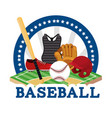 sticker baseball sport game with equipment vector image vector image