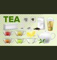 tea cups and pot kitchenware realistic set vector image