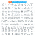 vehicles thin line icons vector image