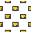 yellow tea cup with teabag pattern flat vector image
