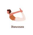 active cartoon female in dhanurasana position vector image vector image