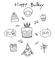 Birthday doodle art element vector image vector image