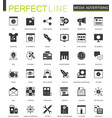 black classic media advertising icons set for web vector image vector image