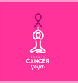 breast cancer care text quote sign for girl yoga vector image
