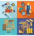 Carpentry flat set vector image vector image