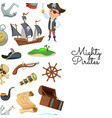 cartoon sea pirates pirate treasure vector image vector image
